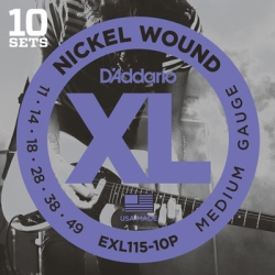D'Addario EXL115-10P Medium XL Nickel Wound Blues/Jazz Rock Electric Guitar Strings-10 Pack