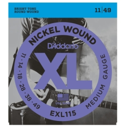 D'Addario EXL115 Medium XL Nickel Wound Blues/Jazz Rock Electric Guitar Strings 11-49