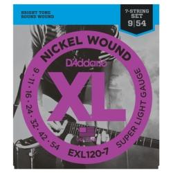 D'Addario EXL120-7 Super Light XL Nickel Wound 7-String Electric Guitar Strings 9-54