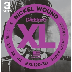 D'Addario EXL120-3D Super Light XL Nickel Wound Electric Guitar Strings-3 Pack