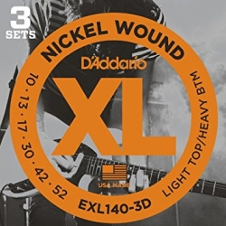 D'Addario EXL140-3D Light Top/Heavy Bottom XL Nickel Wound Electric Guitar Strings-3 Pack