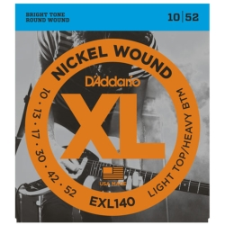 D'Addario EXL140 Light Top/Heavy Bottom XL Nickel Wound Electric Guitar Strings 10-52