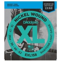 D'Addario EXL158 XL Nickel Wound Light Baritone Electric Guitar Strings 13-62