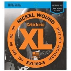 D'Addario EXL160-5 Medium XL Nickel Wound Electric Bass Strings 50-135