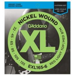 D'Addario EXL165-6 Custom Light XL Nickel Wound Electric Bass Strings 32-135