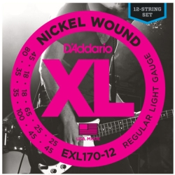 D'Addario EXL170-12 Light XL Nickel Wound Electric Bass Strings 45-100