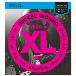 D'Addario EXL170-5 Light XL Nickel Wound Electric 5-String Bass Strings 45-130