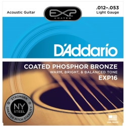 D'Addario EXP16 Coated Light Phosphor Bronze Acoustic Guitar Strings 12-53