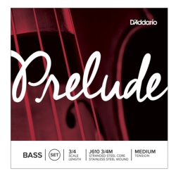 D'Addario J610 3/4M-B10 Prelude Series 3/4 Scale Double Bass String Set-10 Pack