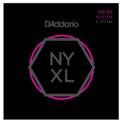 D'Addario NYXL0980 Super Light NYXL Nickel Wound Electric 8-String Guitar Strings 09-80