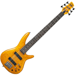 Ibanez GVB1006-AM Gerald Veasley Signature 6 String Solid Body Bass in Amber