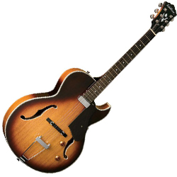 Washburn HB15CTSK Hollowbody Electric Guitar in Tobacco Sunburst