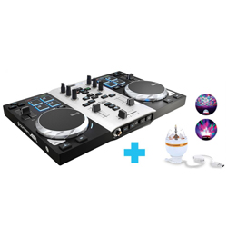 Hercules Audio DjControl AIR S Party Pack DJ Package with DJ Controller and USB LED Party Light