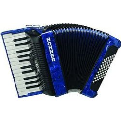 Hohner BR48BL-N Bravo II 48 Bass Piano Accordion Blue with Gig Bag, Straps