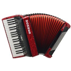 Hohner BR96R-N Bravo III 96 Bass Piano Accordion in Red