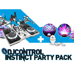 Hercules Audio INSTINCT S Party Pack Full Featured Intuitive DJ Controller and USB LED Party Light