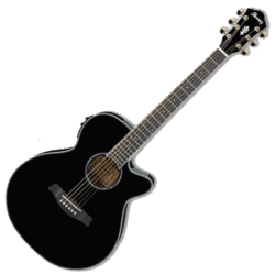 Ibanez AEG30IIBK RH 6 String Acoustic Electric Guitar-Black High Gloss-Discontinued Clearance