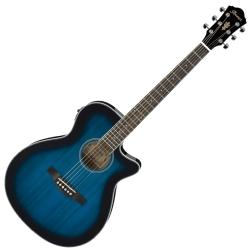Ibanez AEG8E-TBS AEG Series 6 String RH Acoustic Electric Guitar-Transparent Blue Sunburst High Gloss