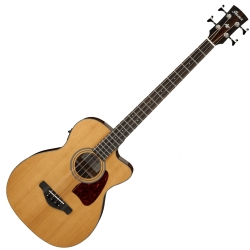 Ibanez AVCB9CE-NT Artwood Vintage Thermo Grand Concert 4 String RH Acoustic Electric Bass-Natural High Gloss