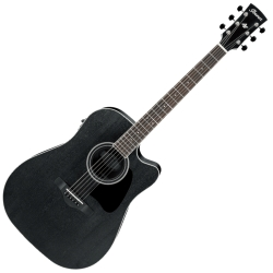 Ibanez AW84CE-WK Artwood Dreadnought 6 String RH Acoustic Electric Guitar-Weathered Black Open Pore