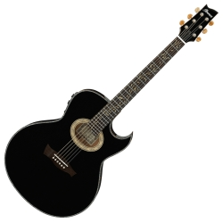 Ibanez EP10-BP Euphoria Series Steve Vai Signature 6 String RH Acoustic Electric Guitar with Case-Black Pearl High Gloss