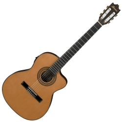 Ibanez GA5TCE-AM 6 String RH Thinline Classical Acoustic Electric Nylon String Guitar-Amber Finish