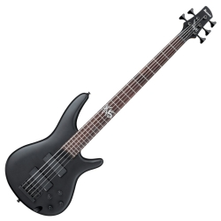 Ibanez K5-BKF Fieldy Signature 5 String RH Electric Bass-Black Flat