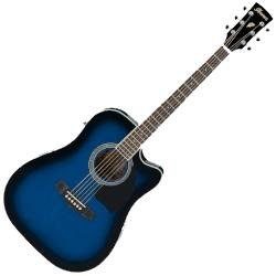 Ibanez PF15ECE-TBS Dreadnought 6 String RH Acoustic-Electric Guitar – Transparent Blue Sunburst