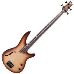 Ibanez SRH500FNNF SR Series Bass Workshop - Fretless Semi-Hollow Body 4 String RH Electric Bass Guitar - Natural Browned Burst Flat