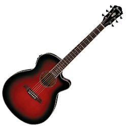 Ibanez AEG10II-TRS AEG Series 6 String Acoustic Electric Guitar in Transparent Red Sunburst (discontinued clearance)