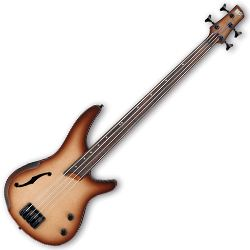 Ibanez SRH500F-NNF-d SR Bass Workshop 4 String RH Semi-hollow Fretless Electric Bass Natural Brown Burst Flat (discontinued clearance)