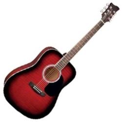 Jay Turser JTA523RSB 3/4 Size 6-String RH Dreadnought Acoustic Guitar-Red Sunburst