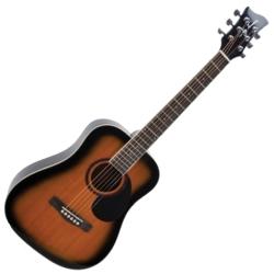 Jay Turser JTA523TSB 3/4 Size 6-String RH Dreadnought Acoustic Guitar-Tobacco Sunburst