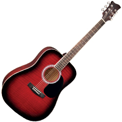 Jay Turser JJ43F-RSB 3/4 SIZED 6 String ACOUSTIC GUITAR in Red Subburst