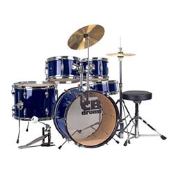 CB Drums JRX55PK-MB 5 Piece Junior Drum Set in Midnight Blue with cymbals
