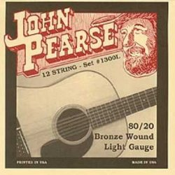 John Pearse 1300L 80/20 Light Bronze Wound 12-String Acoustic Guitar