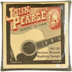 John Pearse JP300M 80/20 Bronze Medium Acoustic Guitar Strings