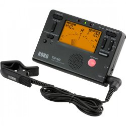 Korg Tuners TM60CBK Metronome Tuner with Contact Mic – Black