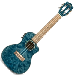 Lanikai QM-BLCEC Quilted Maple Electric Concert Ukulele-Blue Stain