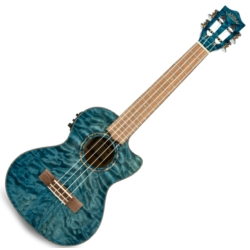 Lanikai QM-BLCET Quilted Maple Electric Tenor Ukulele-Blue Stain