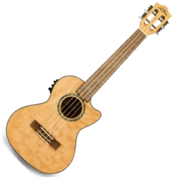 Lanikai QM-NACET Quilted Maple Electric Tenor Ukulele-Natural Stain