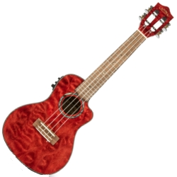 Lanikai QM-RDCEC Quilted Maple Electric Concert Ukulele-Red Stain