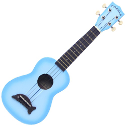 Kala MK-SD/LBLBRST Makala Dolphin Soprano Ukulele in Light Blue Burst Gloss