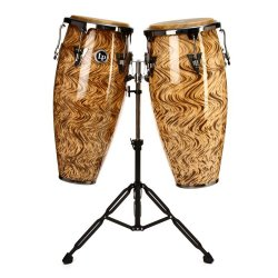 "Latin Percussion LPA646-HC Aspire Havana Cafe 10""/11"" Wood Conga Set w/ Brushed Nickel Hardware & Double Conga Stand"