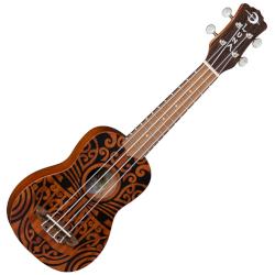 Luna Uke Tribal Soprano Mahogany 4 String Acoustic Ukulele - Satin Natural