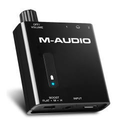 M-Audio BASS TRAVELLER Portable Headphone Amplifier with Dual Outputs and 2-Level Boost
