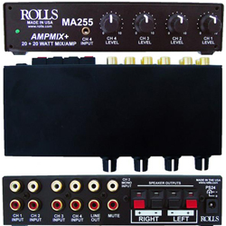 Rolls MA255 Stereo 20W/Ch 4 Channel Class D Mixer Amplifier