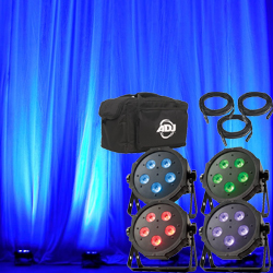 American DJ MEGA-FLAT-TRI-PAK-PLUS Led Par Pack with 4x MEGA-TRIPAR-PROFILE-PLUS DMX Cables and Soft Bag
