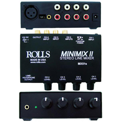 Rolls MX51S Mini Mix 2 Small  Four Channel Mixer with Individual Volume Controls