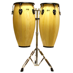 Mano MP1601-NA 10 and 11 Inch Double Conga Set in Natural with Stand